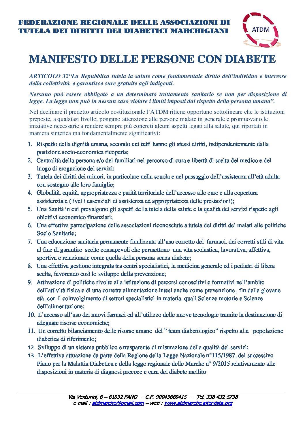 Manifesto delle Persone con Diabete