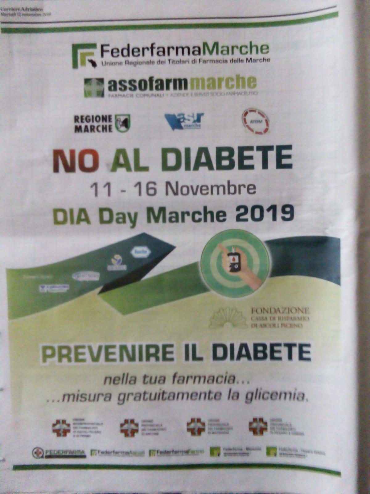 """No al Diabete"" dall'11 al 16 novembre screening gratuito"