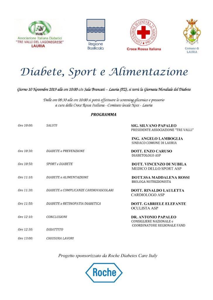 Diabete, Sport e Alimentazione – Lauria (PZ)