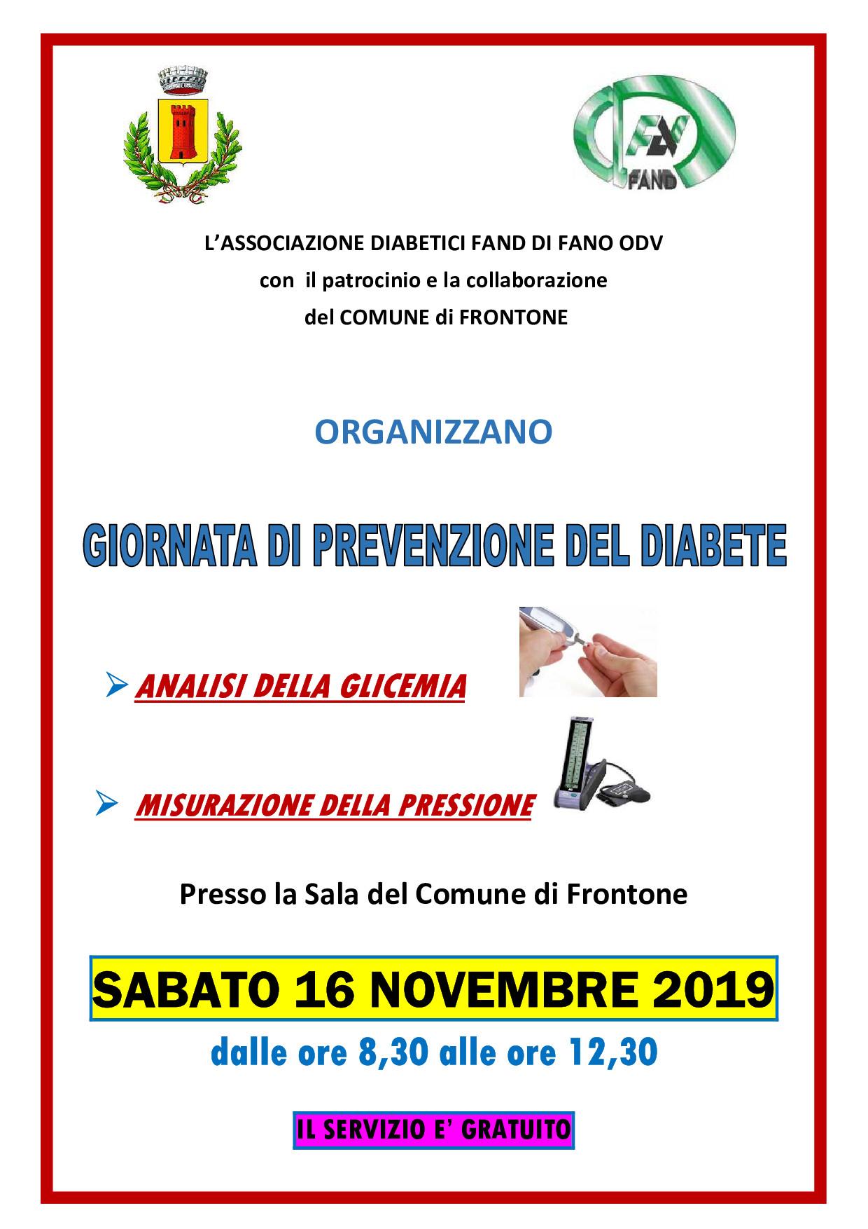 Giornata di prevenzione del diabete – Frontone – Fand Fano