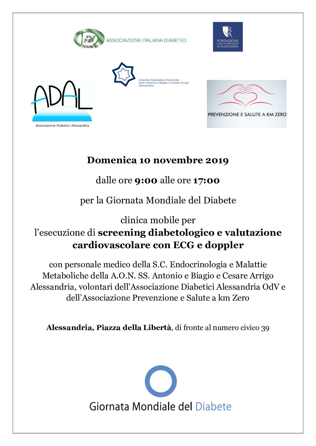 Screening diabetologico e valutazione cardiovascolare – Alessandria