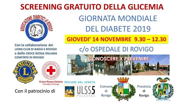 Conoscere x Prevenire – Screening gratuito della glicemia – Rovigo