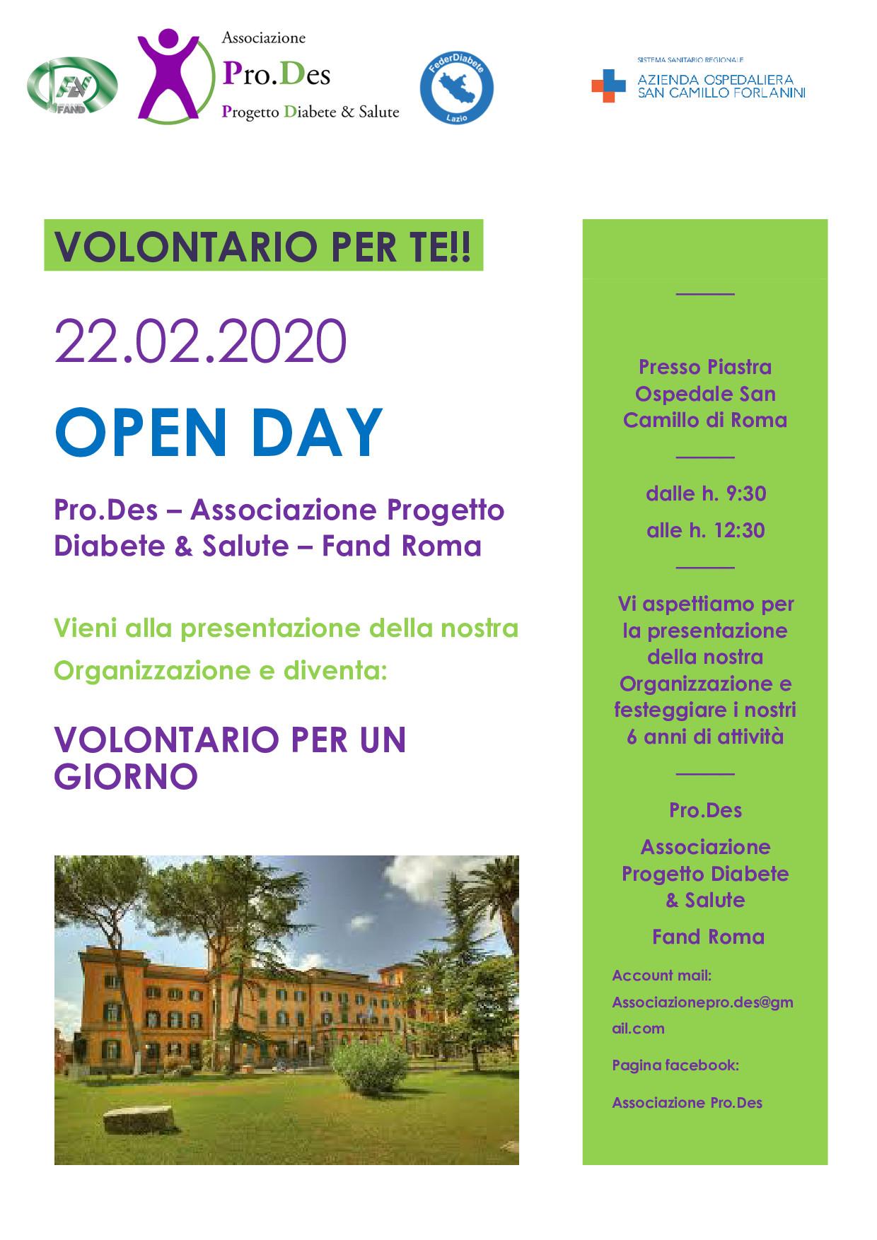 OPEN DAY – VOLONTARIO PER UN GIORNO – FAND ROMA