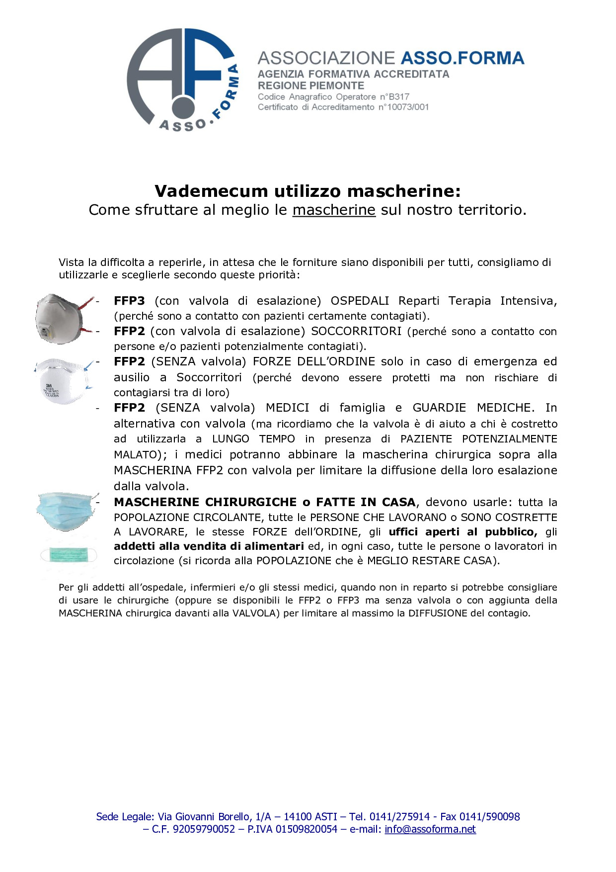 VADEMECUM Utilizzo Mascherine