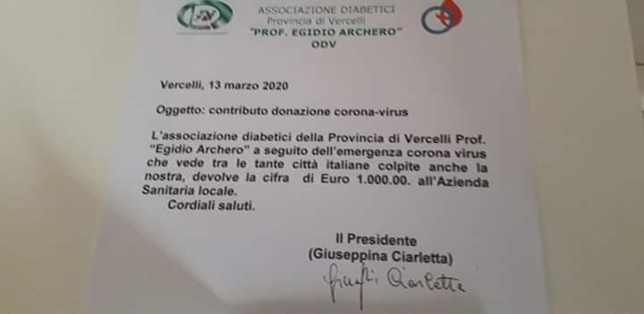 L'Associazione di Vercelli dona all'ASL