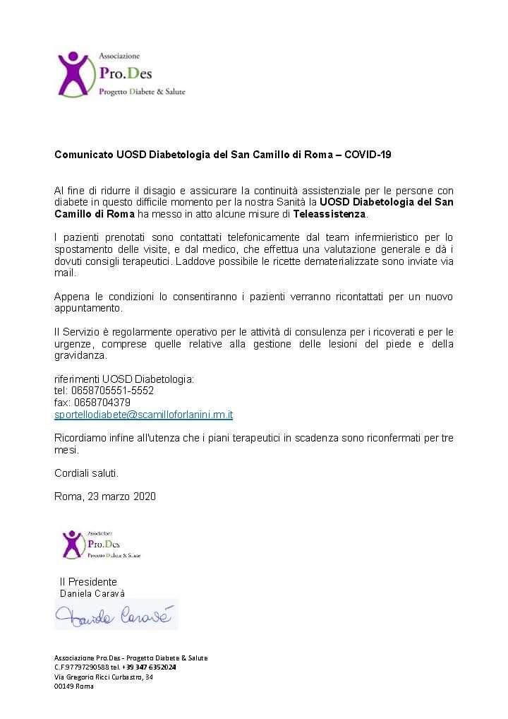 La teleassistenza al San Camillo di ROMA in tempo di COVID-19