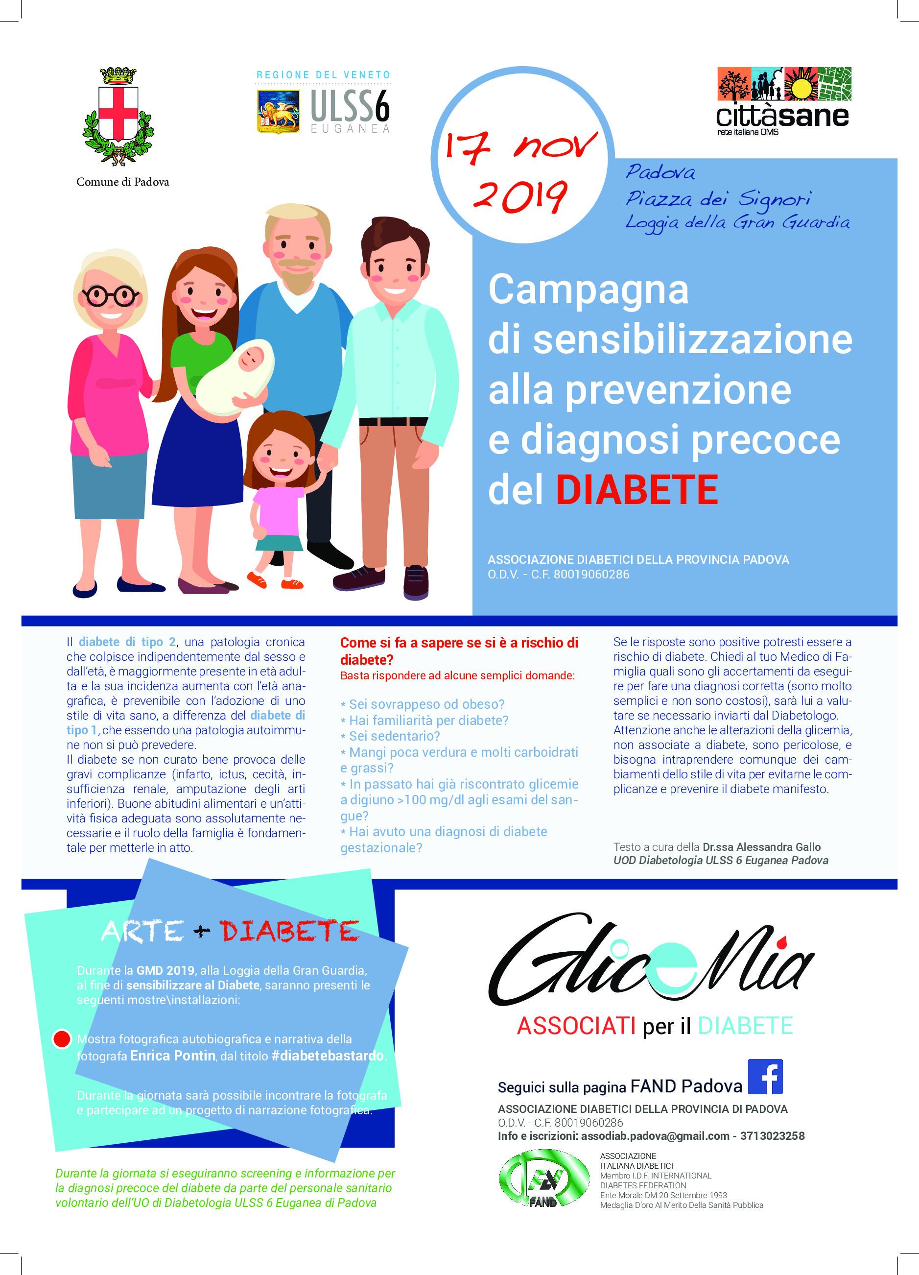 Campagna di sensibilizzazione e prevenzione precoce del diabete – Padova