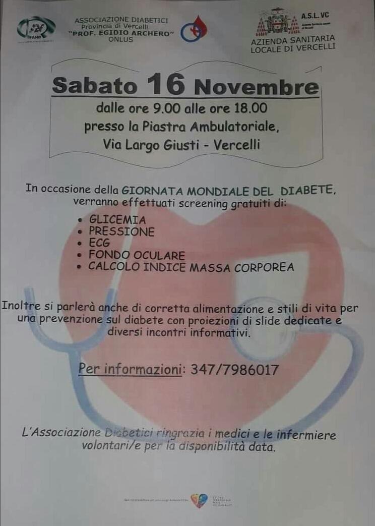 Screening gratuiti a Vercelli