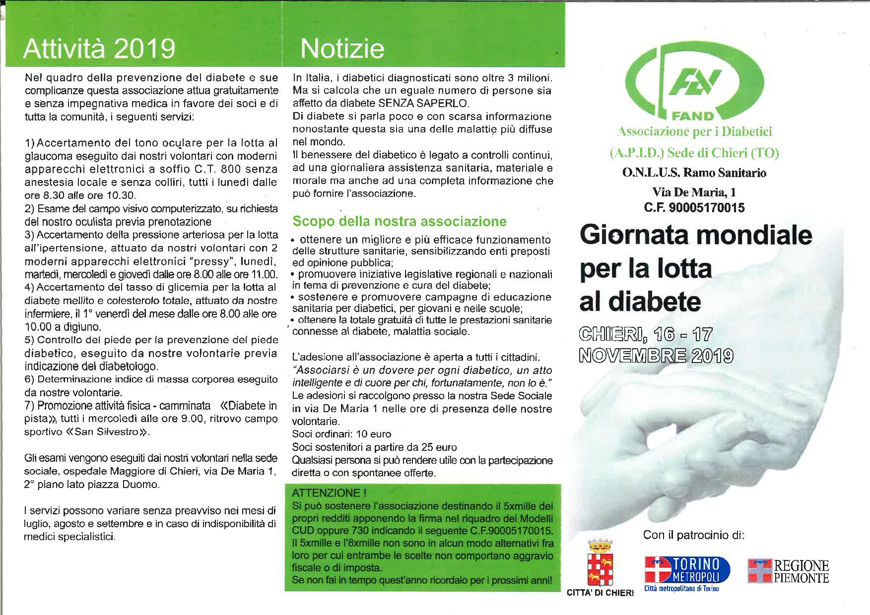 Chieri Giornata mondiale per la lotta al diabete