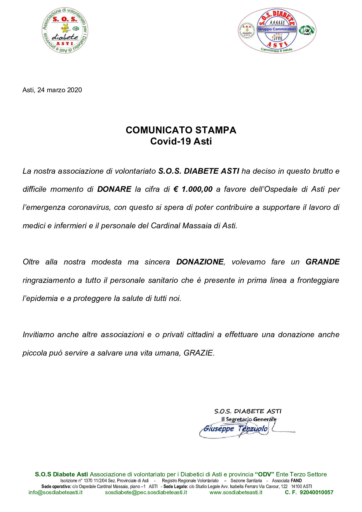 Comunicato Stampa COVID-19 Asti
