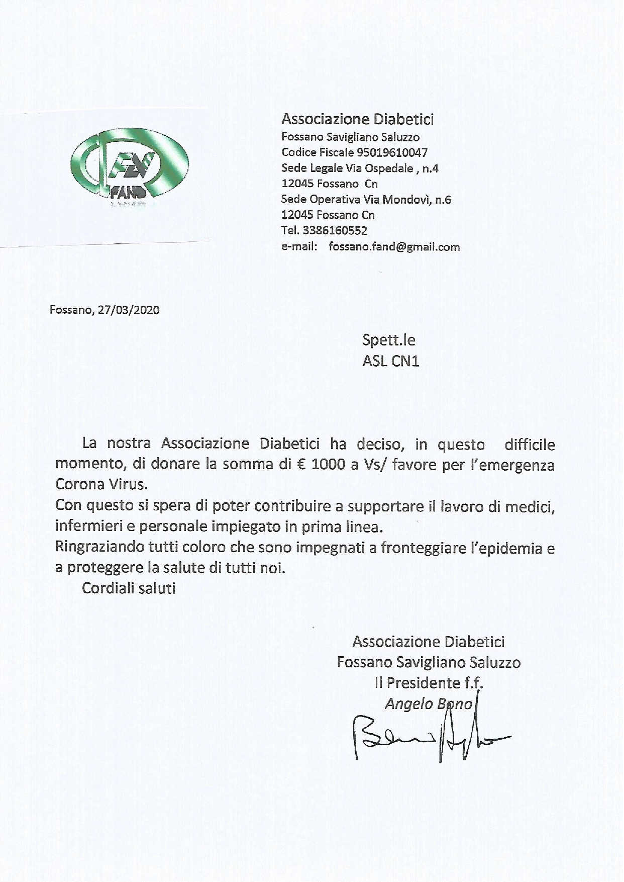 L'associazione FAND di Fossano dona 1000€ alla ASL CN1