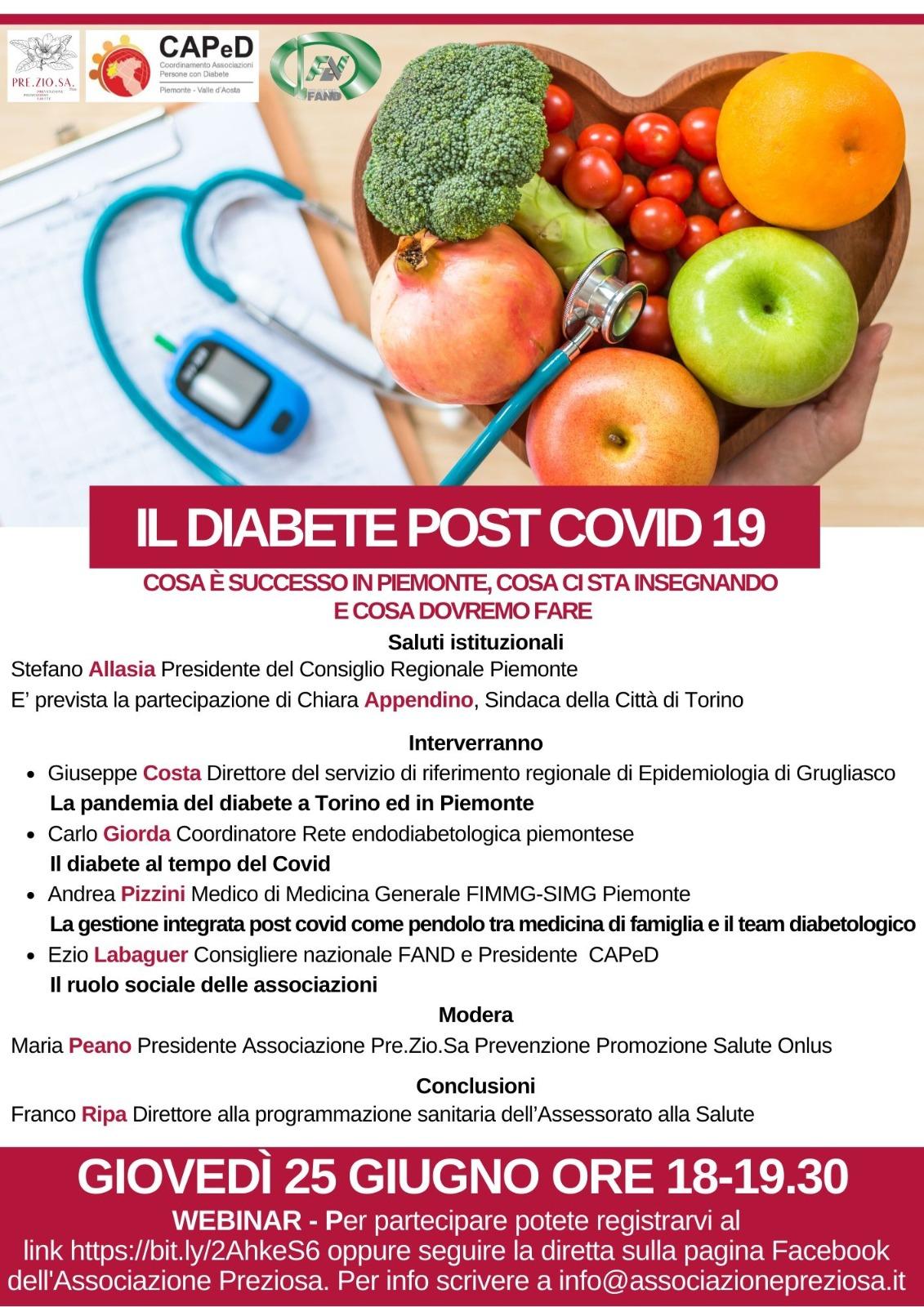 """""""Il Diabete post Covid19 – Cosa è successo in PIEMONTE – Cosa ci sta insegnando e cosa dovremmo fare"""""""