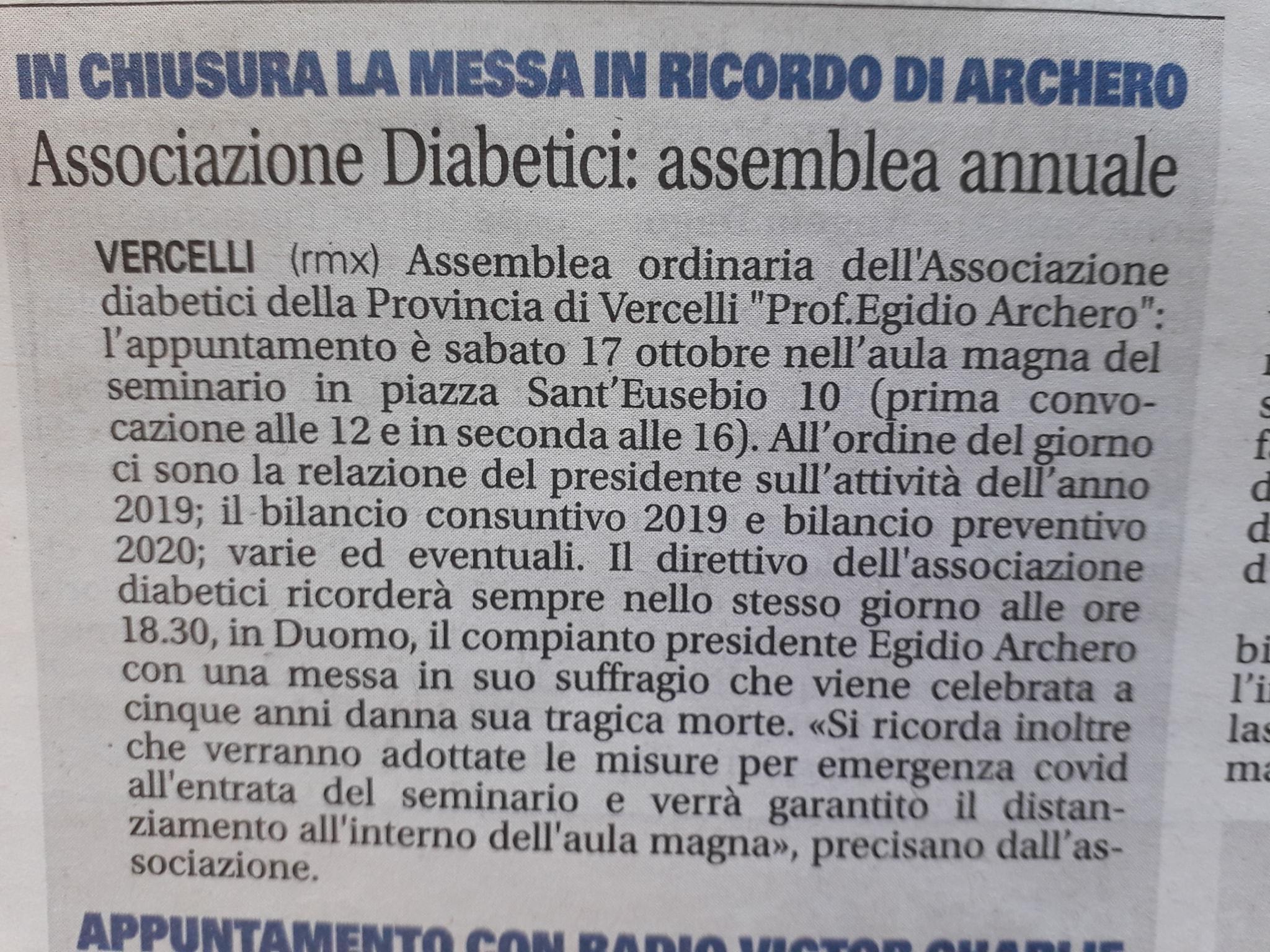 Associazione di Vercelli : messa in ricordodi Egidio Archero