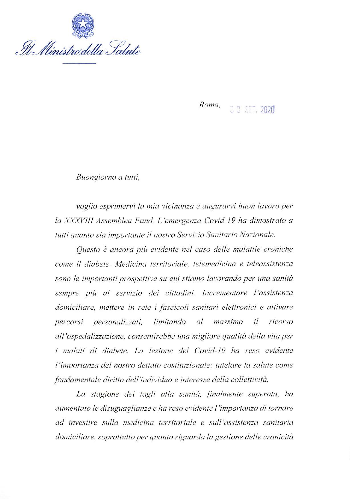 Il ministro On.le Roberto Speranza invia un saluto alla XXXVIII assemblea nazionale FAND sottolineando l'importanza della telemedicina per il prossimo futuro