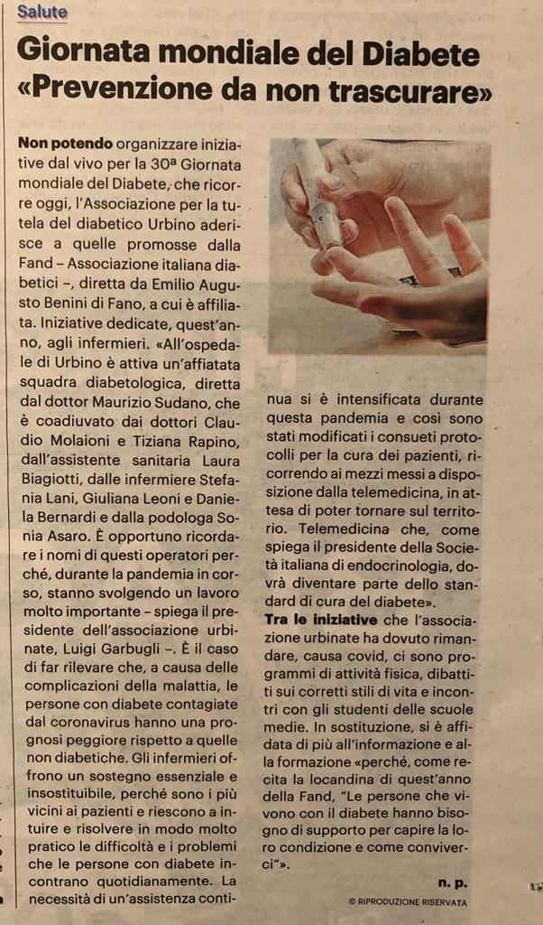GMD 2020 l'associazione FAND di Urbino la ricorda con un articolo